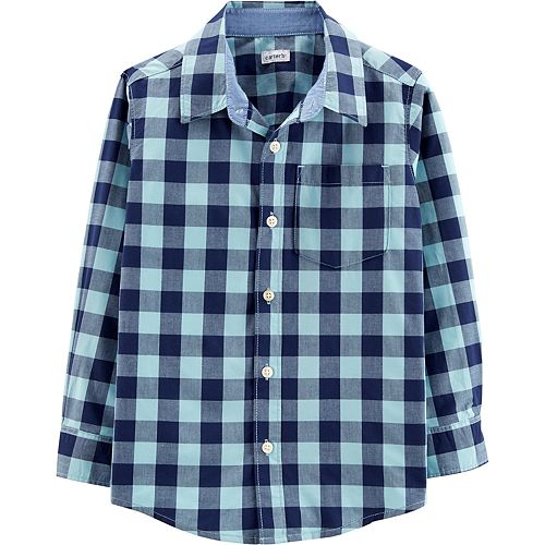 Boys 4-14 Carter's Blue Plaid Button-Down