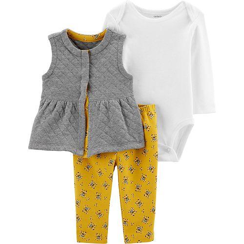 Baby Girl Carter's 3-Piece Floral Little Vest Set