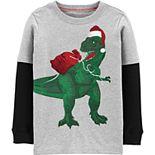 Boys 4-14 Carter's T-Rex Santa Claus Layered Tee