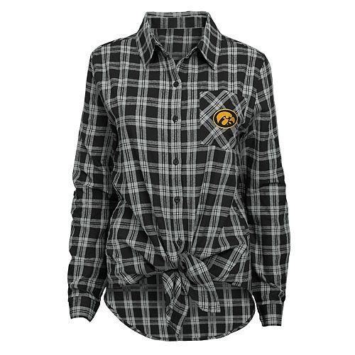 Juniors' Iowa Hawkeyes Action Plaid Shirt