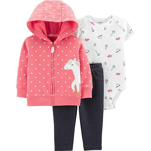 Carters Baby Girls Embroidered Llama Bodysuit Set