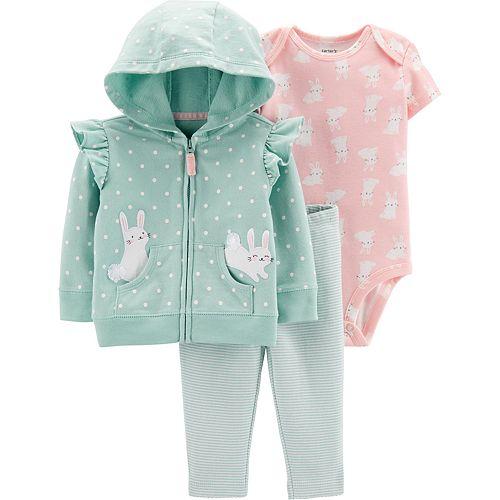 Baby Girl Carter's 3-Piece Bunny Jacket, Bodysuit & Striped Leggings Set