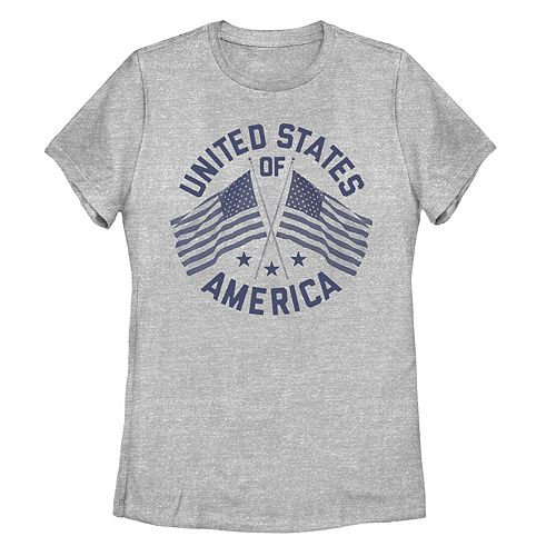 Juniors' United States Of America Double Flag Graphic Tee