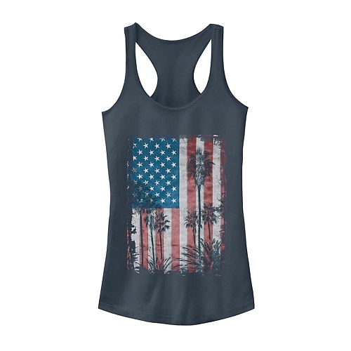 Juniors' Palm Tree American Flag Tank