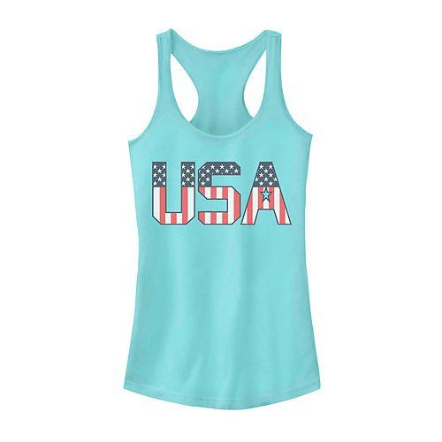 Juniors' USA Flag Text Tank