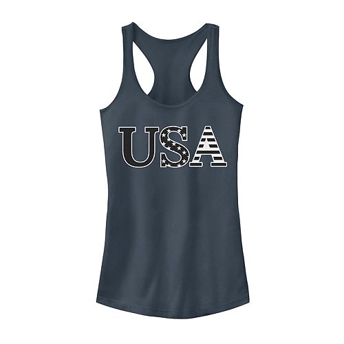 Juniors' Stars And Stripes Text Tank