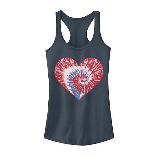 Juniors' Tie Dye Heart Racerback Tank