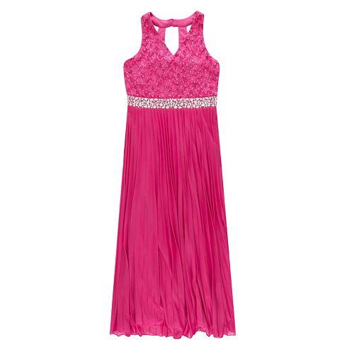 Girls 7-16 & Plus Size Speechless Sleeveless Lace Pleated Maxi Dress