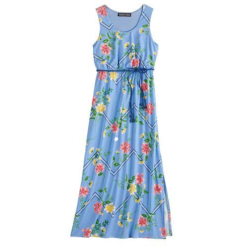 Girls 7-16 Three Pink Hearts Printed Racerback Maxi Dress