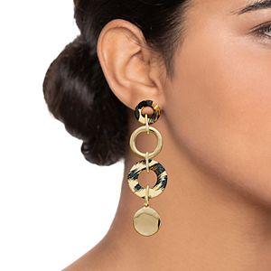 Nine West Cheetah Print Linear Drop Earrings
