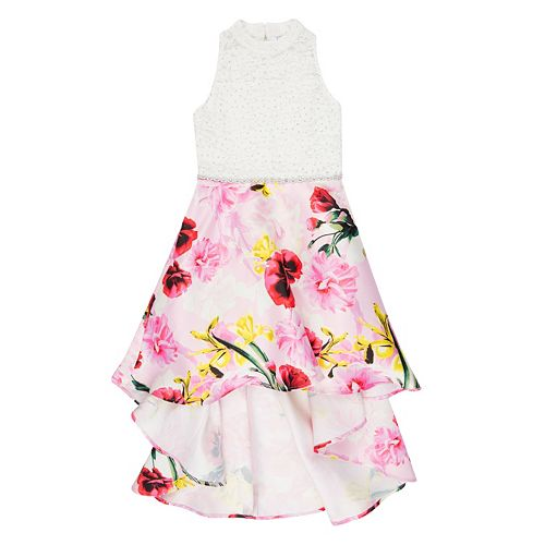 Girls' Speechless Lace Bodice to Floral Print Skirt