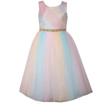 Girls 7-16 & Plus Size Bonnie Jean Metallic Ombre Rainbow Mesh Dress