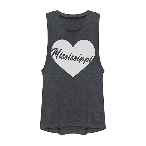 Juniors' Mississippi Heart Graphic Muscle Tank