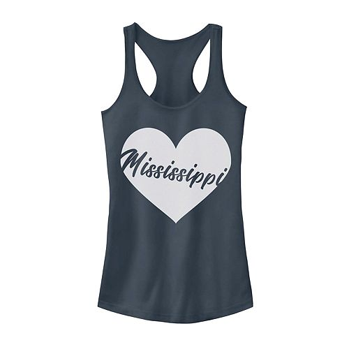 Juniors' Mississippi Heart Graphic Tank