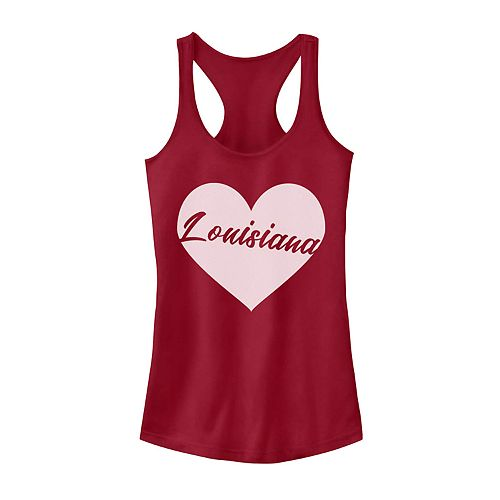 Juniors' Louisiana Heart Graphic Tank