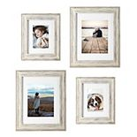 Malden White Wash Matted Wall Frame 4-Piece Set
