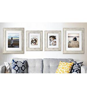 Malden White Wash Matted Wall Frame 4-Piece Set