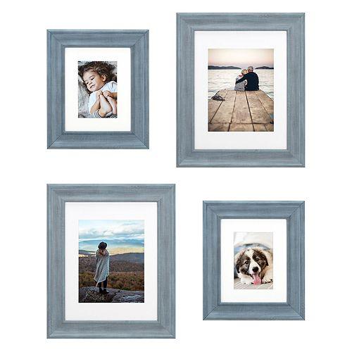 Malden Blue Matted Wall Frame 4-Piece Set