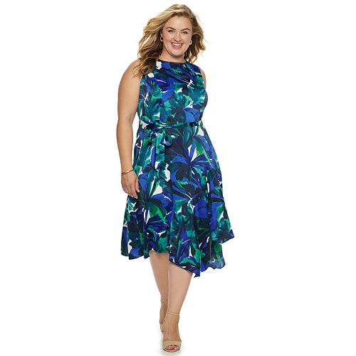 Women's Suite 7 Abstract Leaf Print Fit & Flare with Asymmetrical Hem