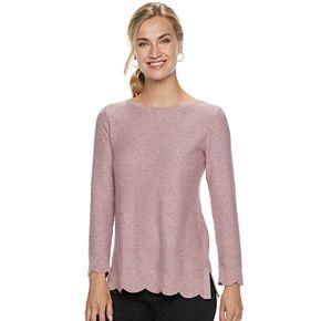 Women's ELLE? Scallop Hem Tunic Pullover Sweater