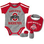 "Baby Boys Ohio State Buckeyes 3-Piece ""Tackle"" Bodysuit, Bib, & Booties Set"