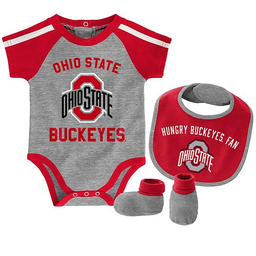 "Baby Boys Ohio State Buckeyes 3-Piece ""Tackle"" Bodysuit, Bib, & Booties Set"