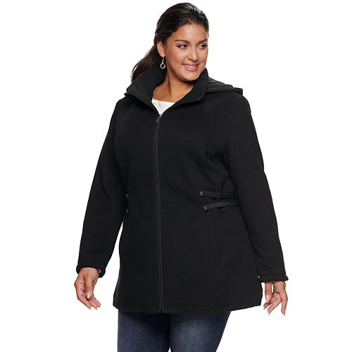 Plus Size d.e.t.a.i.l.s Fleece Side Tab Hooded Jacket
