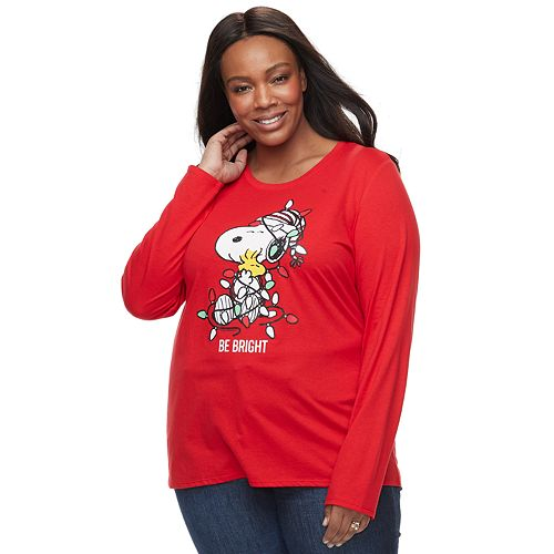Plus Size Family Fun™ Peanuts Snoopy Christmas Graphic Tee