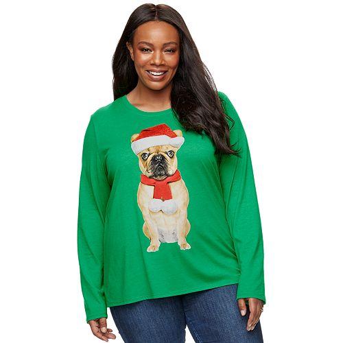 Plus Size Family Fun™ Pug Christmas Graphic Tee