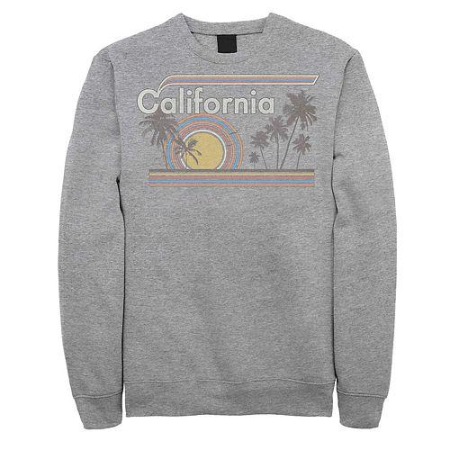 Juniors' California Retro Rainbow Palm Tree Fleece Sweater