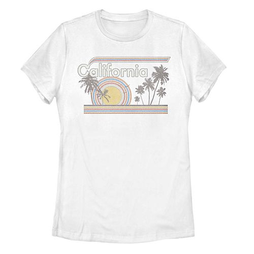 Juniors' California Retro Rainbow Palm Tree Graphic Tee