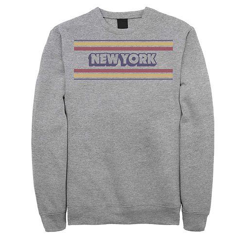 Juniors' New York Stripes Logo Fleece Sweater