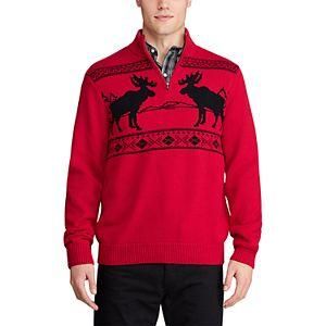 Men's Chaps Classic Fit Zip Neck Moose Sweater