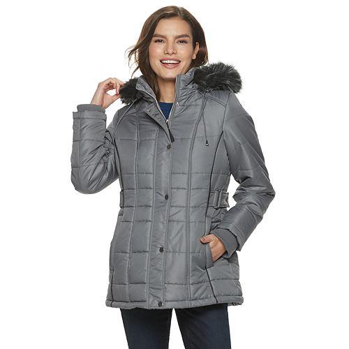 Women's d.e.t.a.i.l.s Hooded Adjustable Side Tab Puffer Coat