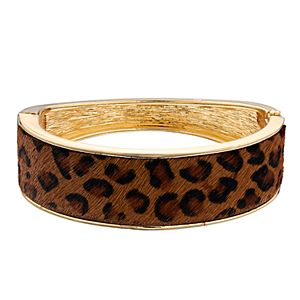 Nine West Cheetah Print Hinged Bangle Bracelet
