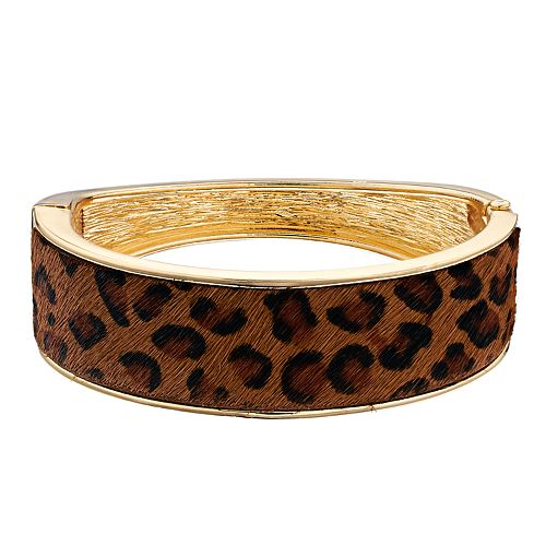 Nine West Cheetah Print Hinged Bangle Bracelet
