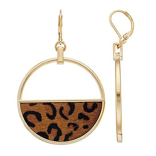 Nine West Cheetah Print Hoop Drop Earrings