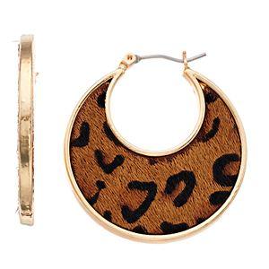 Nine West Cheetah Print Hoop Earrings