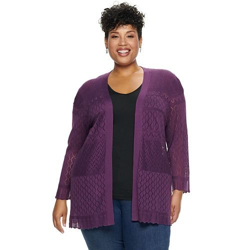 Plus Size Croft & Barrow® Long Sleeve All Over Pointelle Sweater