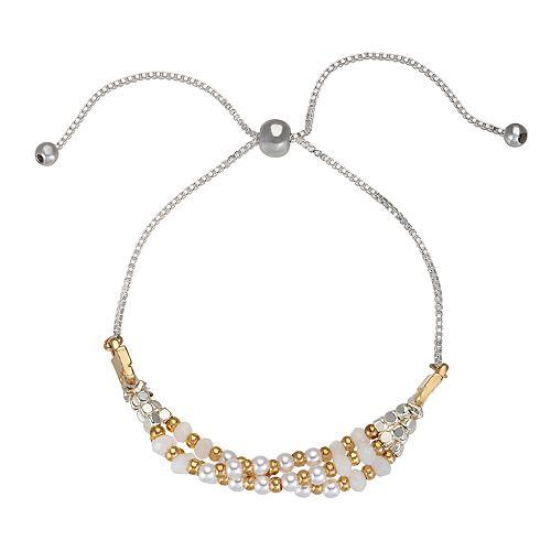 LC Lauren Conrad Simulated Pearl Multi Row Bracelet