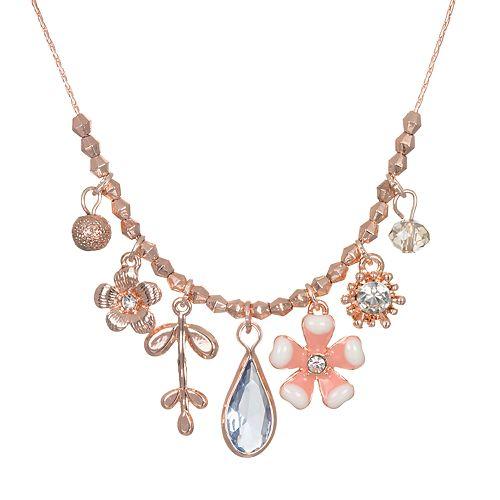 LC Lauren Conrad Flower Charm Statement Necklace