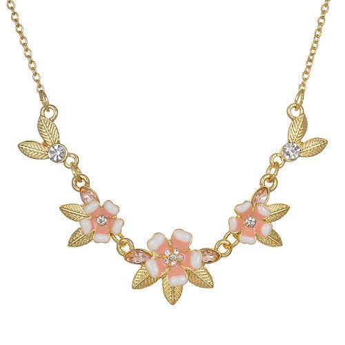 LC Lauren Conrad Flower Leaf Statement Necklace