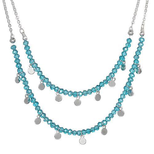 LC Lauren Conrad Teal Double Row Necklace