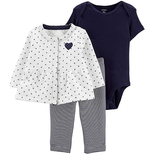Baby Girl Carter's 3-Piece Heart Quilted Cardigan, Bodysuit & Striped Leggings Set