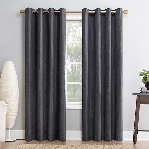 Sun Zero Gavlin Crosshatch Jacquard 100% Extreme Blackout Window Curtain