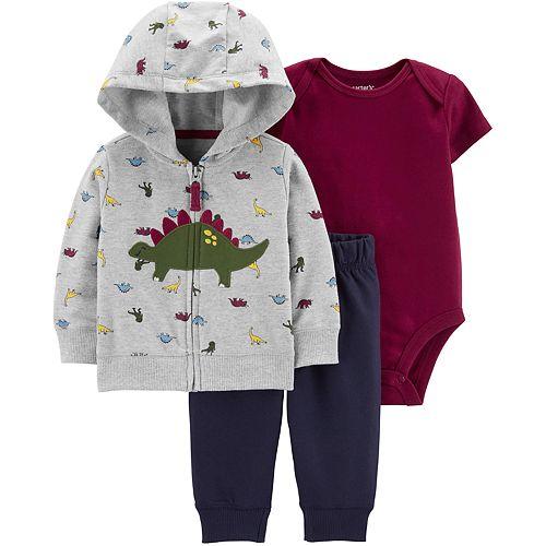 Fashion Dinosaur Hooded Baby Boy Bodysuit Long Sleeve Animal Print Outfit Set