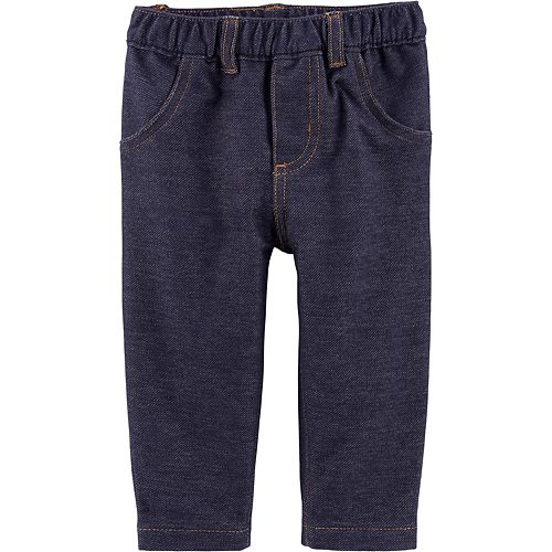 Baby Girl Carter's Pull-On Knit Denim Jeggings