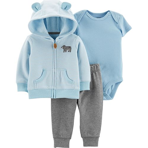 Baby Boy Carter's 3-Piece Animal Hoodie, Bodysuit & Pants Set