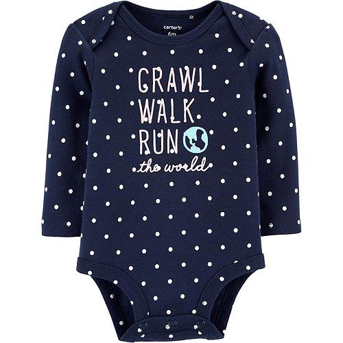 Baby Girl Carter's Crawl Walk Run The World Collectible Bodysuit
