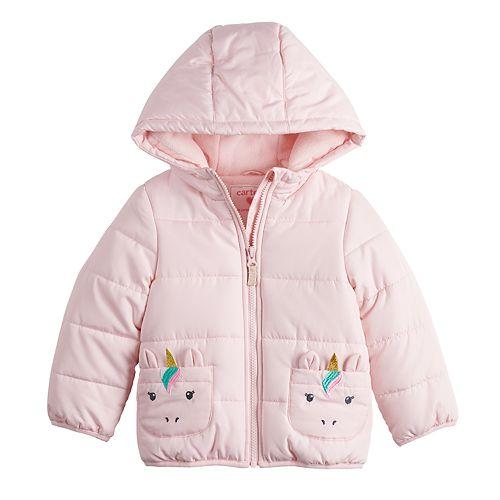 Toddler Girl Carter's Pink Unicorn Puffer Jacket